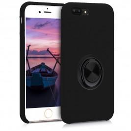 Coque iPhone 7Plus/8Plus en Silicone Noir avec Bague