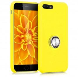 Coque iPhone 7Plus/8Plus en Silicone Jaune avec Bague