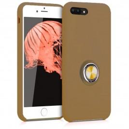 Coque iPhone 7Plus/8Plus en Silicone Marron Clair avec Bague