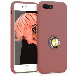 Coque iPhone 7Plus/8Plus en Silicone Rose Foncé avec Bague
