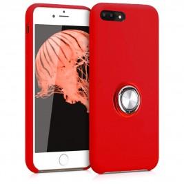 Coque iPhone 7Plus/8Plus en Silicone Rouge avec Bague