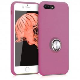 Coque iPhone 7Plus/8Plus en Silicone Violet avec Bague