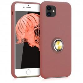 Coque iPhone 11 en Silicone Rose Foncé avec Bague