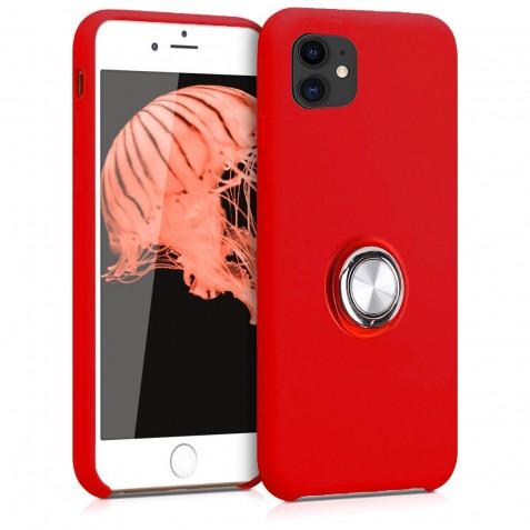 Coque iPhone 11 en Silicone Rouge avec Bague