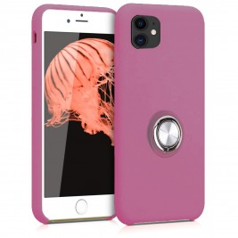 Coque iPhone 11 en Silicone Violet avec Bague