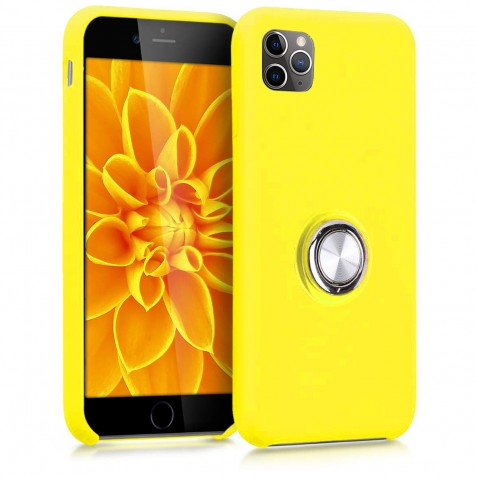 Coque iPhone 11 Pro en Silicone Jaune avec Bague