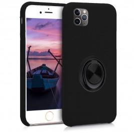 Coque iPhone 11 Pro Max en Silicone Noir avec Bague