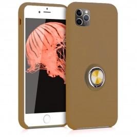 Coque iPhone 11 Pro Max en Silicone Marron Clair avec Bague