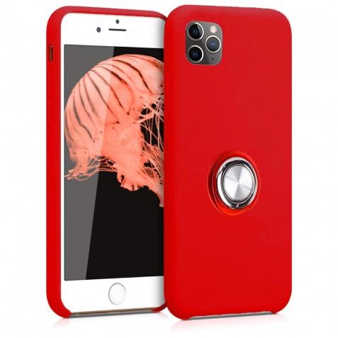 Coque iPhone 11 Pro Max en Silicone Rouge avec Bague