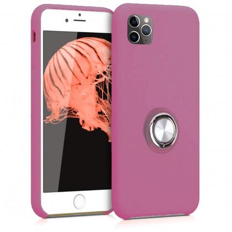 Coque iPhone 11 Pro Max en Silicone Violet avec Bague